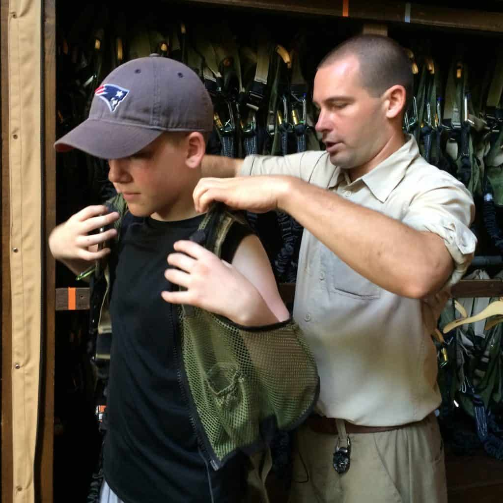 Putting on gear for Wild Africa Trek at Disney's Animal Kingdom ~ photo taken by T.M. Brown