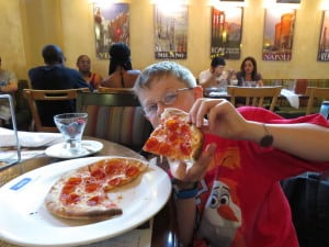 Via Napoli / peanut, egg and tree nut free pepperoni pizza ~ photo taken by T.M. Brown