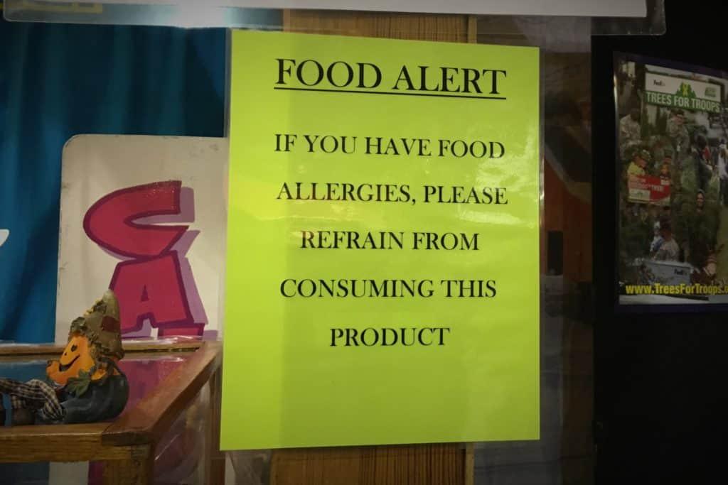 Food allergy warnings