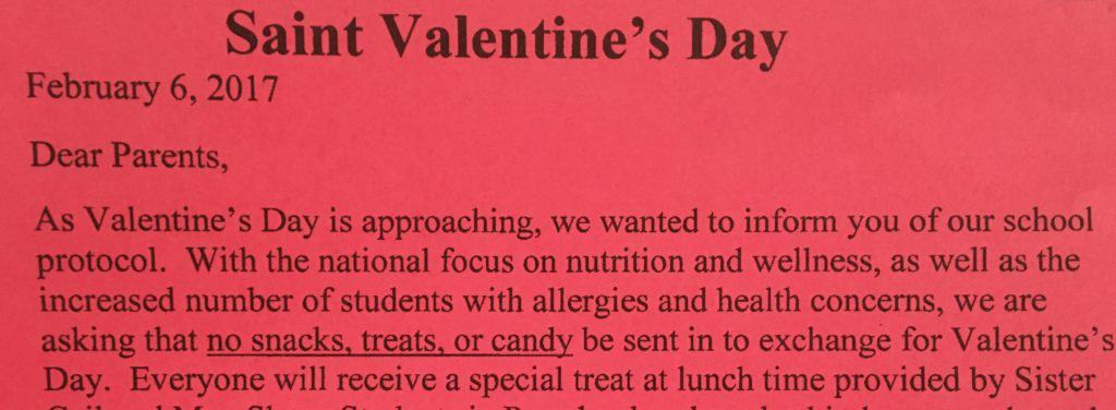 Valentine's Day in the Classroom - Note from Principal