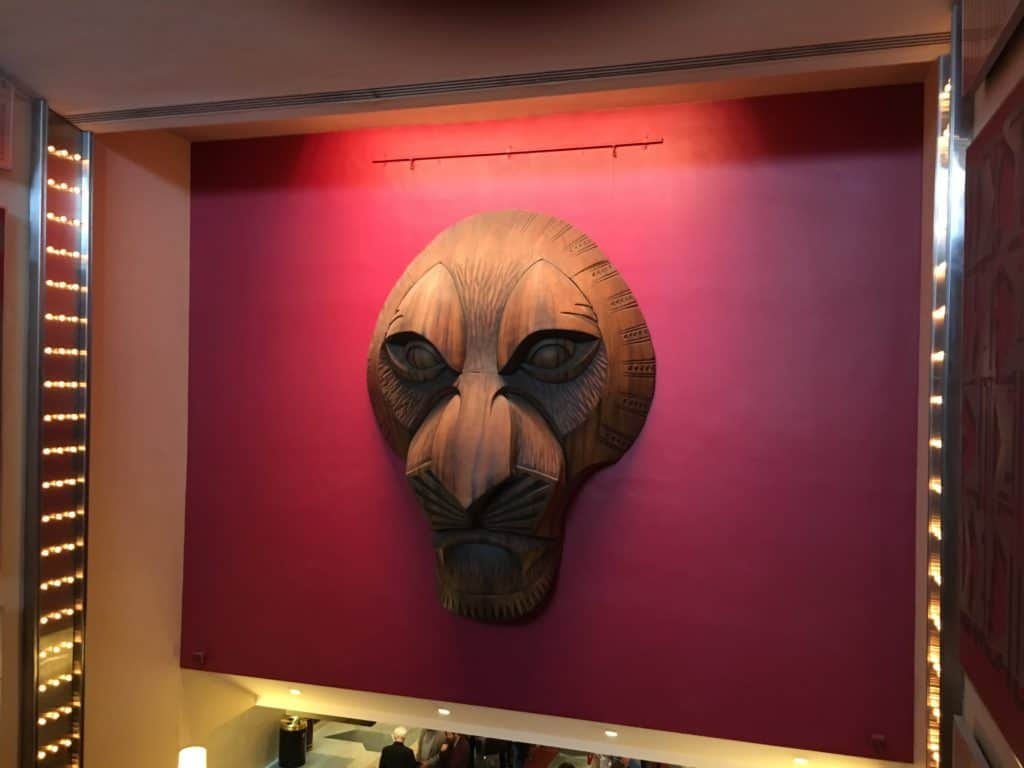 Disney's The Lion King on Broadway: Mufasa Mask in Lobby of Minskoff Theater