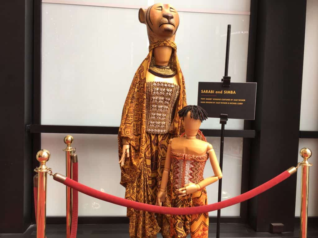 Simba and Sarabi Costumes: Minskoff Theater Lobby for Disney's The Lion King on Broadywa