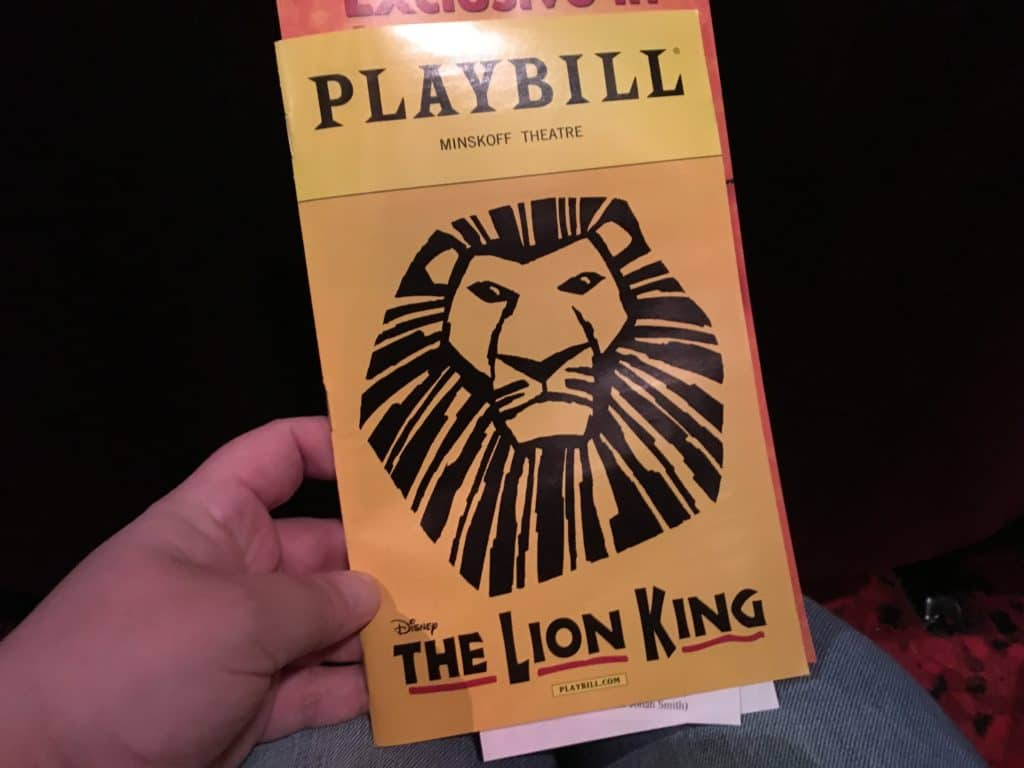 Disney's The Lion King on Broadway playbill