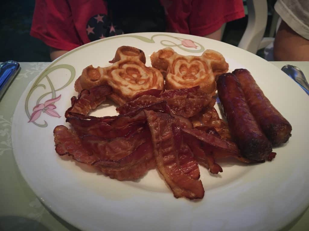 Managing Food Allergies on a Disney Cruise - Plate of Mickey waffles, bacon and sausage