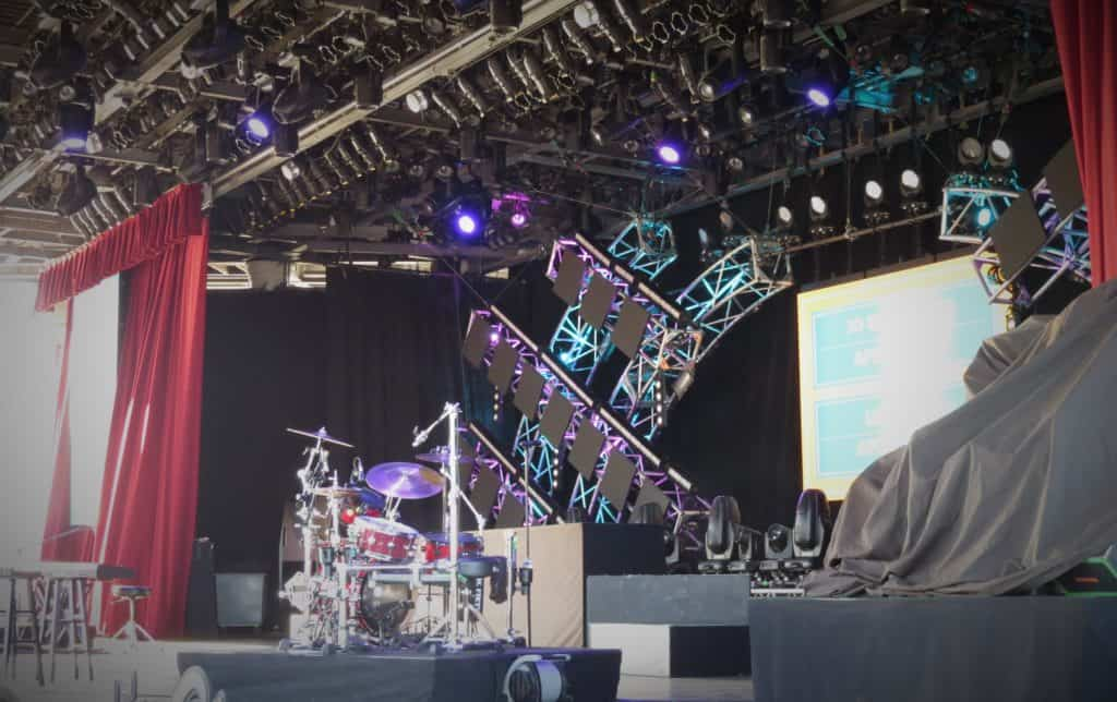 concert stage with band equipment