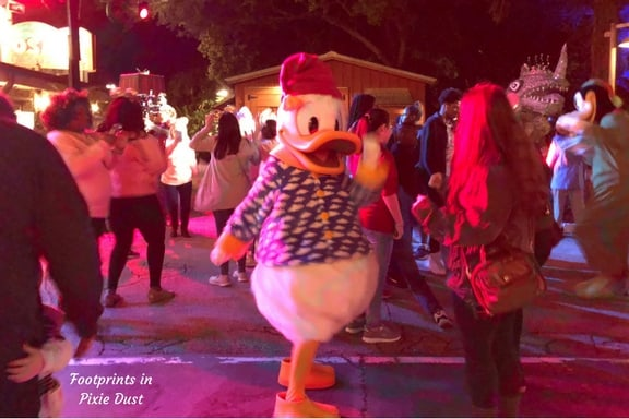 DVC Moonlight Magic: Donald dancing away with Guests in Dinoland