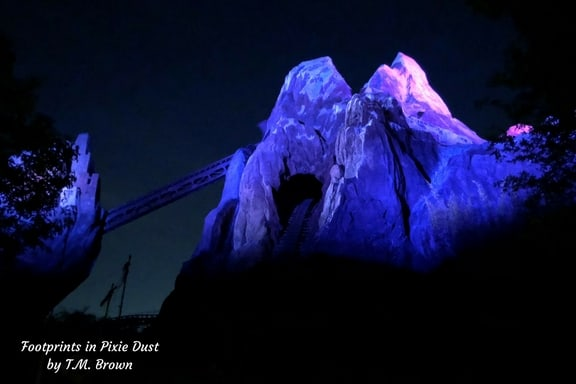 Nighttime photo of Expedition Everest at Disney's Animal Kingdom