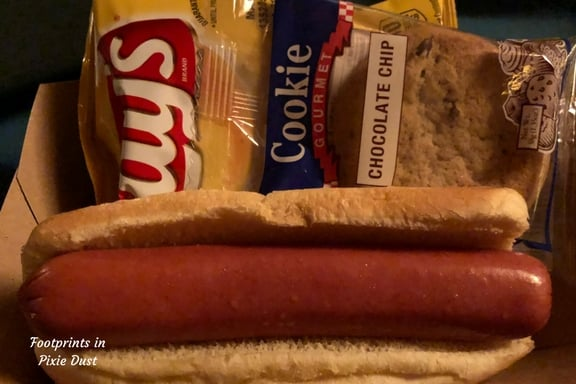 DVC Moonlight Magic food offerings: hot dog, chips, cookie