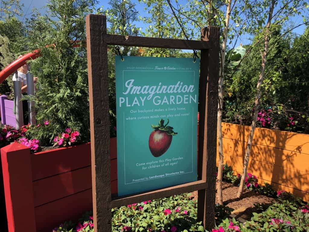 sign for new play area at Epcot during Flower & Garden Festival