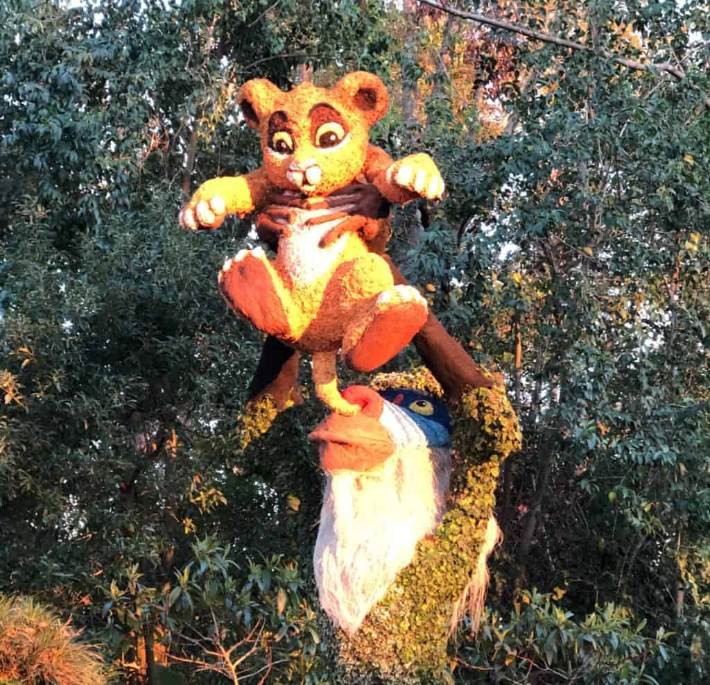 Disney Topiary of Rafiki holding Simba from Disney's The Lion King