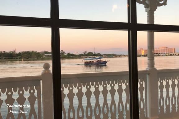 View of Seven Seas Lagoon from our seat at Narcoossee's Restaurant