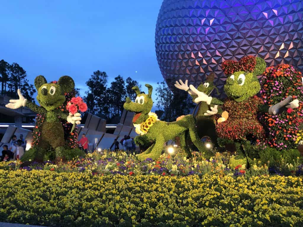 Mickey Mouse, Minnie Mouse and Pluto Topiary Trees