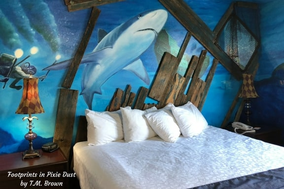 Bedroom in a 20,000 Leagues Under the Sea decor at Stone Castle Hotel Conference Center