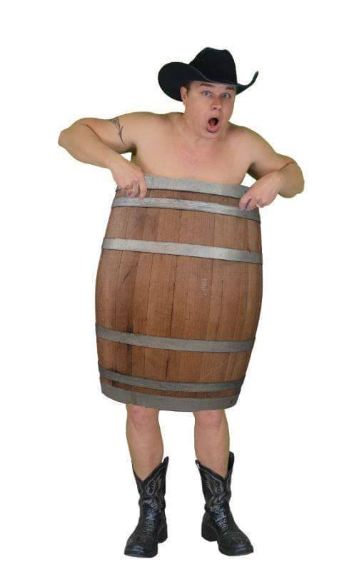 Clay Cooper wrapped in a barrel