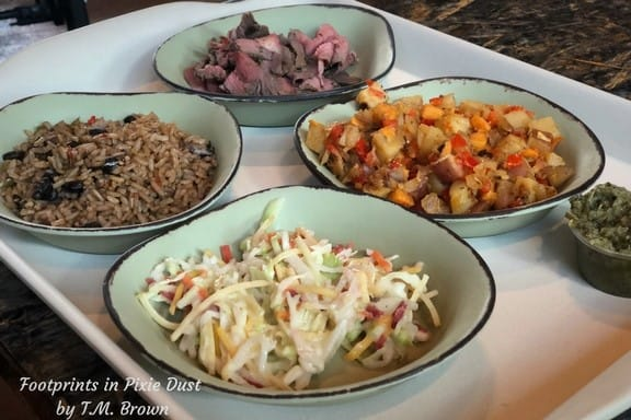 Four bowls of separate foods for a food allergy safe meal at Satu'li Canteen at Disney's Animal Kingdom Park