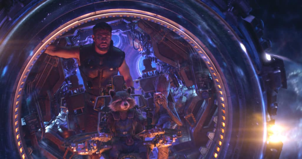 Thor with Guardians of the Galaxy on Avengers: Infinity War; photo courtesy of Walt Disney Studios