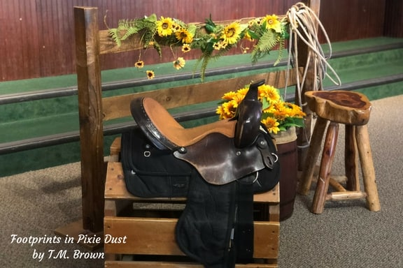 Saddle and fence photo opp at Dolly Parton's Stampede