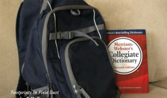 backpack and dictionary