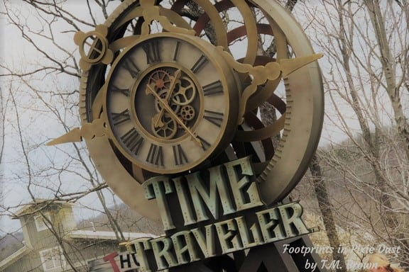 The entrance sign for the Time Traveler coaster at Silver Dollar City in Branson, MO