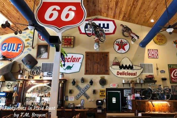 Memorabilia on the walls of Fall Creek Steak & Catfish House