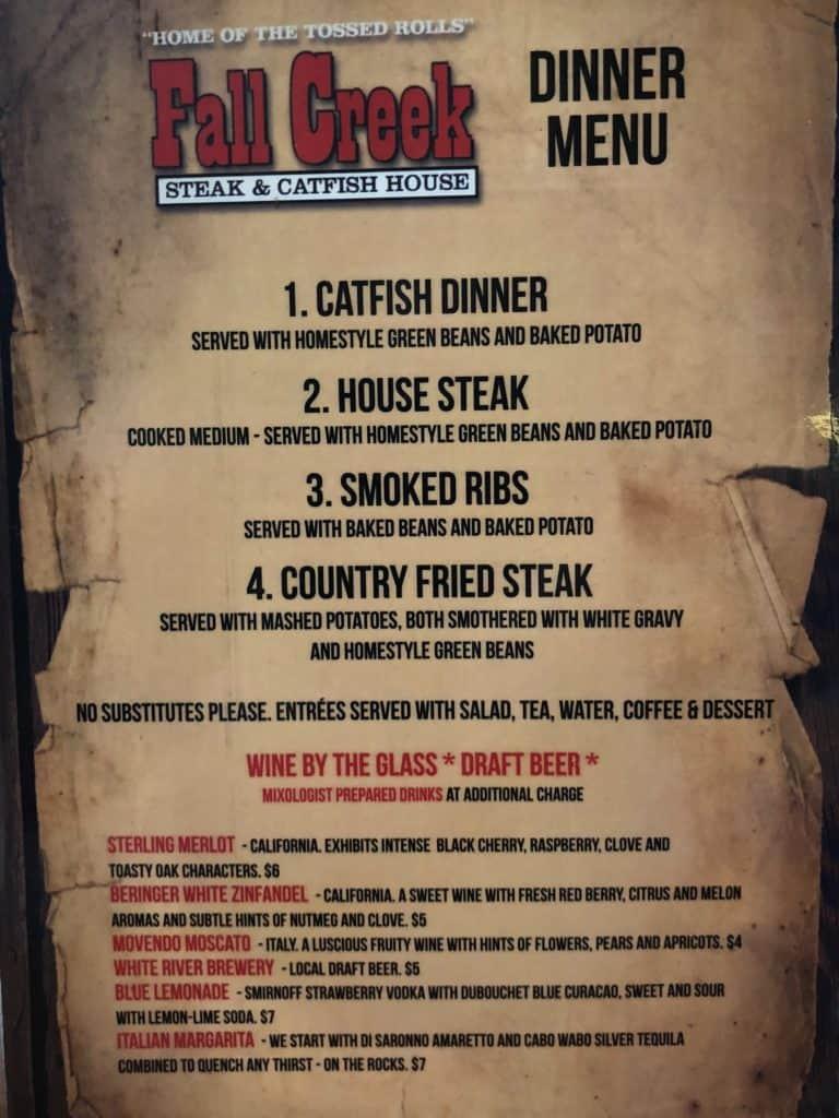 Menu from Fall Creek Steak & Catfish House