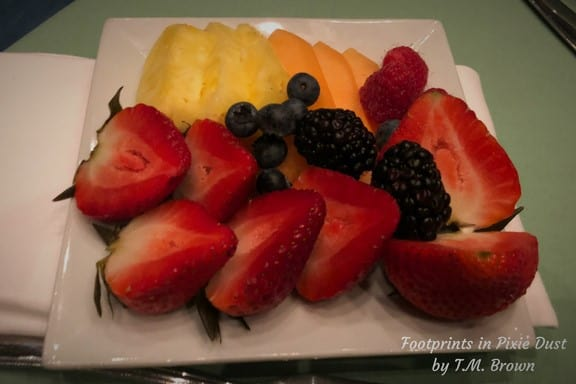 Allergy-safe fruit plate at Disney Vacation Club's Mother's Day Brunch