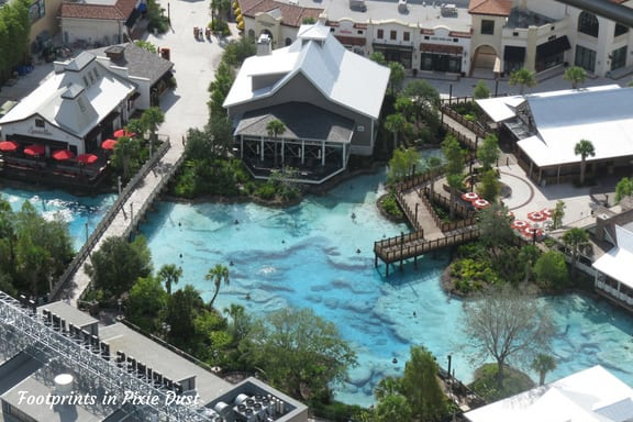 Aerial view of Disney Springs from Aerophile Balloon at Disney Springs