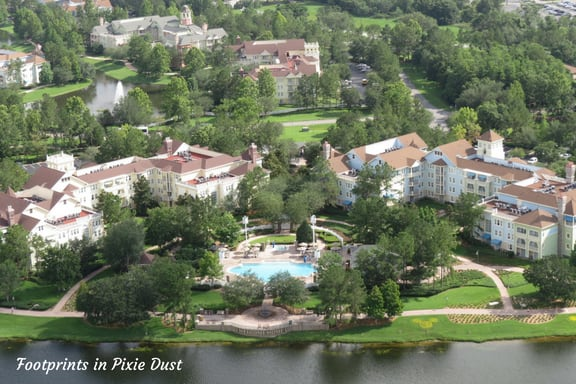Aerial review of resort from Aerophile Balloon at Disney Springs