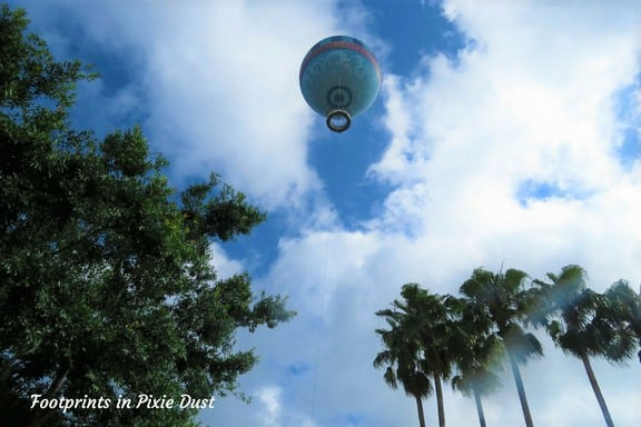Aerophile balloon up in the air over Disney Springs