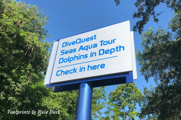Signage for Epcot Sea Adventures: Dolphins in Depth tour