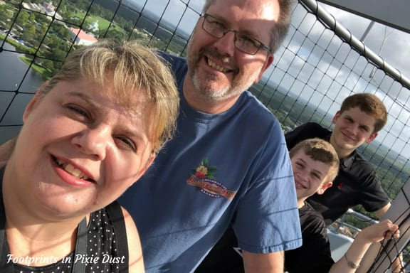 Family picture on Aerophile balloon at Disney Springs