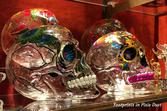 Glass skulls in Mexico Pavilion at Epcot