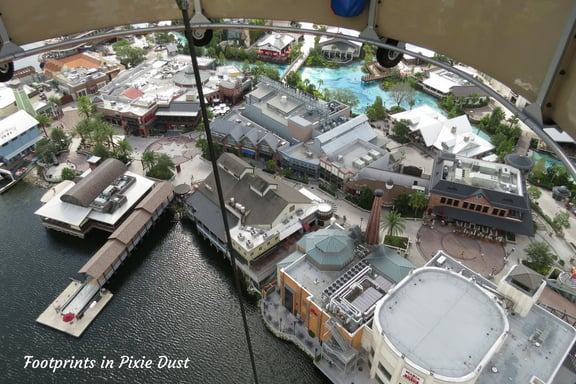 View of Disney Springs from Aerophile balloon basket