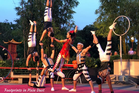 Chinese acrobats at China Pavilion in Epcot
