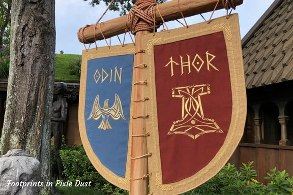 Odin an Thor banners in Norway Pavilion at Epcot