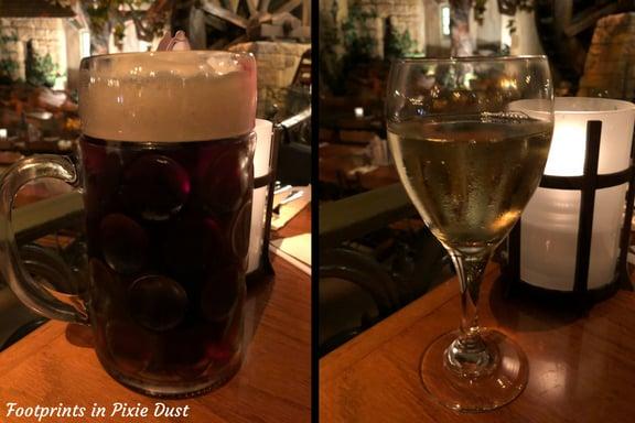Warsteiner Dunkel and Valckensberg Madonna Riesling - Our drinks at Biergarten ~ Photo credit: Tina M. Brown