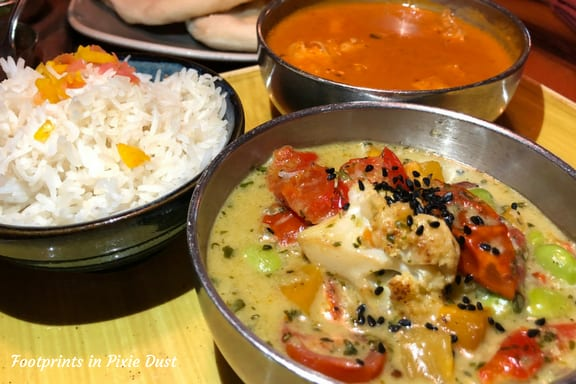 Goan Seafood Curry with Cilantro-Coconut Vegetables and Basmati Rice ~ Photo credit: Tina M. Brown