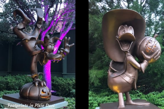 Goofy and Donald Duck Statues at Party Entrance ~ Photo credit: Tina M. Brown