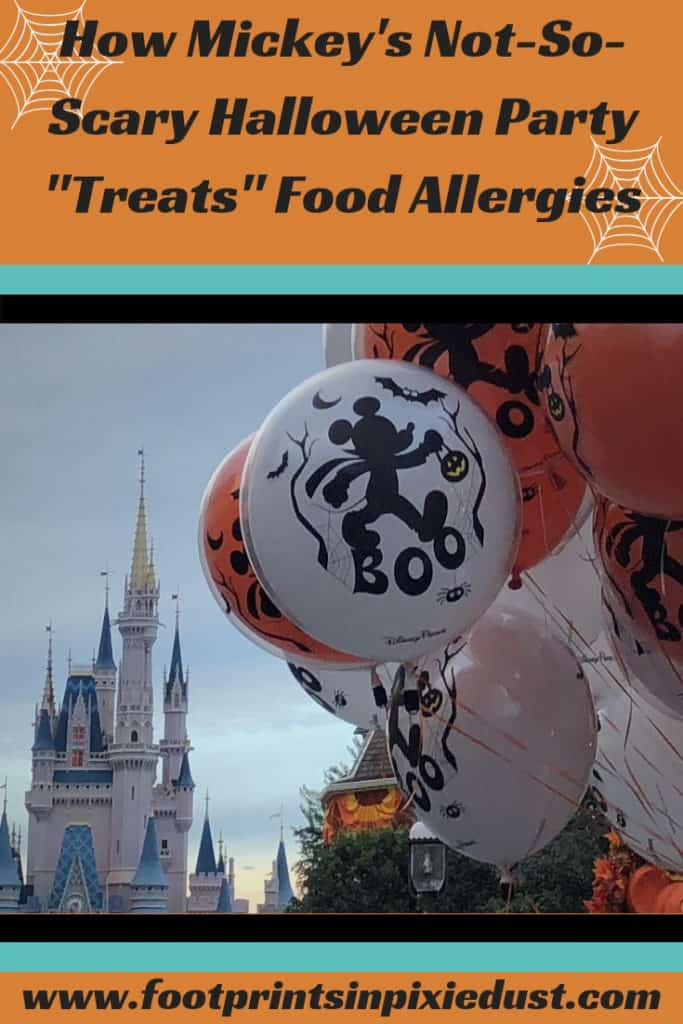"How Mickey's Not-So-Scary Halloween Party ""Treats"" Food Allergies: #NotSoScary #MNSSHP #WDW #MagicKingdom #foodallergies #foodallergytravel #Halloween #foodallergyfriendlytreats #sweettreats #disneyevent #party #candy"