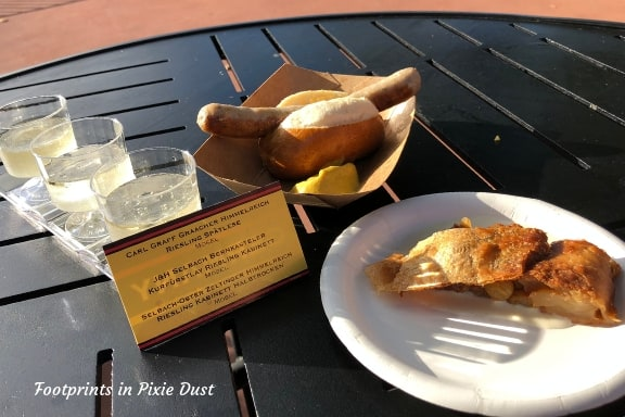 Roast Bratwurst in a Pretzel Roll, Apple Strudel and Riesling Wine Flight from Germany ~ Photo credit: Tina M. Brown