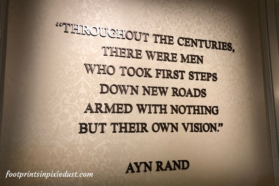 Ayn Rand quote adorning the wall inside the American Adventure main building