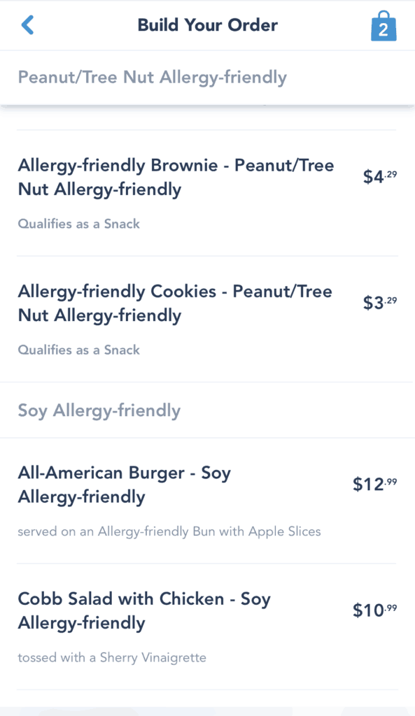Peanut / Soy -Friendly menus for Liberty Inn on Mobile Ordering for My Disney Experience app