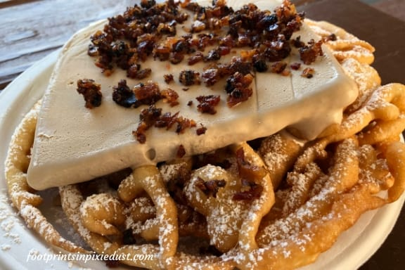 Maple Bacon Funnel Cake at American Adventure