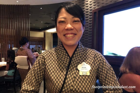 Risa, our Cast Member at Tokyo Dining ~ Photo credit: Tina M. Brown