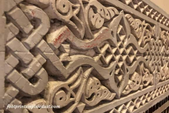 Taking a closer look at the clay within the Morocco Pavilion at Epcot