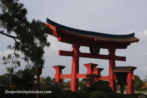 Torii gate in the Japan Pavilion at Epcot ~ Photo credit: Tina M. Brown