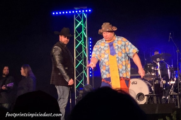 Droopy Drawers, JR, and Brandon keeping the audience laughing during Branson's Famous Baldknobbers show