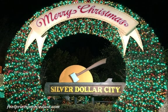 Christmas at Silver Dollar City at night