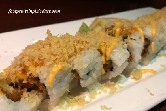 California Crunch Sushi Roll at Splitsville Orlando