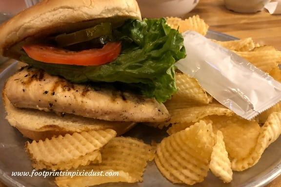 Grilled chicken sandwich at McFarlain's Family Restaurant